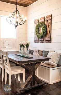 If you& looking for farmhouse wall decor, you could try your hand at making these super simple and inexpensive rustic shutters. Farmhouse Dining Room Table, Dining Room Table Decor, Dining Nook, Rustic Farmhouse Decor, Dining Room Design, Farmhouse Design, Farmhouse Furniture, Farmhouse Ideas, Country Farmhouse