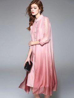 Elegant Stand Collar Silk Pure Color Shift Dress