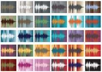 Voice Art Gallery's sound wave art.  You record a message, it's turned into art.  I LOVE THIS!