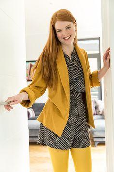 Nouvelle collection mode Automne-Hiver 2017 : #look #misaison #combishort #combi #short #veste #kimono #suédine #viscose #jaune #tendance #fashion #mode #fabrics #tissu #tissus #couture #sewing #diy #doityourself #automne #hiver #mondailtissus