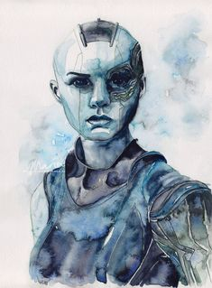 Drawing Marvel Comics Sisterhood · Nebula from The Guardians of the Galaxy · Painting by Maria Bruggeman Originals · Online Store Powered by Storenvy - Marvel Fan Art, Marvel Dc Comics, Marvel Heroes, Marvel Characters, Marvel Movies, Marvel Women, Galaxy Painting, Galaxy Art, Galaxia Tattoo