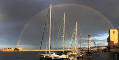Rainbow, old harbor, Chania, Crete, Greece Crete Island, Greece Islands, Crete Greece, Marina Bay Sands, Opera House, Rainbow, Building, Travel, Crete
