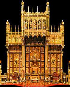 This is the principal throne of the Palace of Westminster designed by A.W. Pugin for ceremonial use, and in particular for the official opening of the House of Lords in April 1847