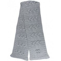 Chanel - Grey Cashmere Cable Knit Scarf - $764.95 (15% off)