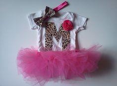 Animal Print Pink Bow Tee & Tutu Set by micahandco on Etsy, $39.00