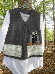 Owl applique on vest - check out UpCdooZ shop on Etsy.