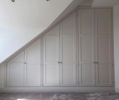 have created this stunning bespoke units. Look great in that colour too. Sloped Ceiling Bathroom, Small Attic Bathroom, Slanted Ceiling, Loft Room, Bedroom Loft, Bedroom Storage, Attic Storage, Simple Closet, Attic Bedrooms