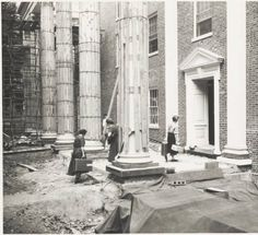 """Voigt Hall """"move in,"""" 1954. Voigt Hall initial move in through construction. Voigt Hall is a women's dormitory located on South College Street, next to Howard Park. It is administered as part of East Green. :: Ohio University Archives"""