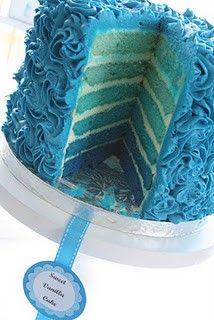 cute range of blues cake!  I like how it is iced too.