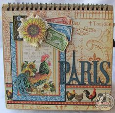 Graphic 45 easel mini album made from French Country collection