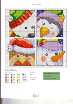 Cross-stitch Cute Christmas patterns...   cute, cute, cute...   would be great as individual small pillows or coasters