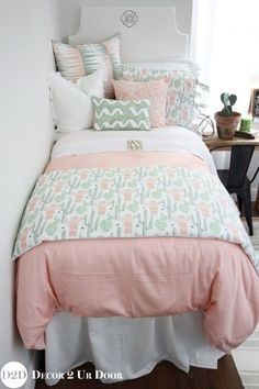 Perfect teen girl room makeover Cact-i as you a question? How much do you love this cactus motif inspired teen bedding set? We love the colors of peach, grey, and green mixed together to create a sunrise setting. Totally Coachella. Desert on, y'all!