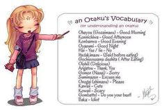 Otaku Vocabulary I need to hand this out to my friends so they can understand what I'm saying ! :)