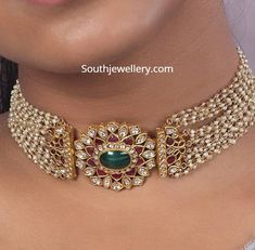 Multi strand pearl choker with pendant photo Pearl Necklace Designs, Gold Earrings Designs, Gold Choker Necklace, Beaded Choker, Pearl Choker, Mango Necklace, Beaded Jewelry Designs, Indian Jewelry Sets, Indian Wedding Jewelry