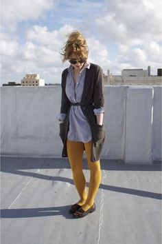 Discover this look wearing Mustard Opaque Tights Forever 21 Tights, Navy Loafers Vintage Loafers, Heathers - A Taste of Mustard by ladyalamode styled for Comfortable, Farmer's Market in the Spring Mustard Fashion, Dedicated Follower Of Fashion, Opaque Tights, Dress Codes, What To Wear, Jewlery, Style Inspiration, Autumn, Schmuck