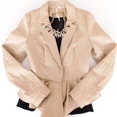 HP! Rachel Roy Peplum Quilted Jacket In EUC! This is an absolutely stunning blazer/jacket! Peplum flare at the bottom, and quilted look. This is a size 6, I recommend for someone who wears size small or sizes 4-6. Perfect piece for Fall, pair with skinnies and boots!  Smoke/pet free home. Ask all questions before buying, no trades! ❌ Bundle your likes for a discount  •shirt & necklace NFS• Rachel Roy Jackets & Coats Blazers