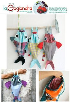 As ideas for storage of plastic bags Sewing Crafts, Sewing Projects, Sewing To Sell, Fish In A Bag, Kids Bags, Handmade Accessories, Handmade Bags, Bag Making, Gifts For Kids