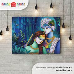 Traditionally women were the creators of Madhubani paintings in the Mithila region. Buddha Painting, Krishna Painting, Buddha Art, Krishna Art, Madhubani Art, Madhubani Painting, Indian Art Paintings, Modern Art Paintings, Painting Gallery