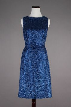 50s-60s VTG Electric Blue Tinsel Slim Wiggle Sheath Party Dress. Stunning vintage dress in excellent condition! Size S - $109 via eBay