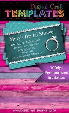 Personalized Printable Invitations   Teal   Bridal Shower   Wedding    #181