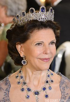 Royal Tiaras: Queen Silvia of Sweden wears the Leuchtenberg Sapphire Parure Tiara Royal Diamond, Diamond Tiara, Indian Jewelry Sets, Royal Jewelry, Royal Tiaras, Tiaras And Crowns, Swedish Royalty, Princess Madeleine, Family Jewels