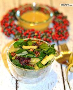 Ensalada de espinacas, manzana y nueces con aderezo de mostaza. Receta para Año Nuevo Salad Dressing, Fresh Rolls, Pickles, Cucumber, Salads, Gluten Free, Vegetables, Ethnic Recipes, Dressings