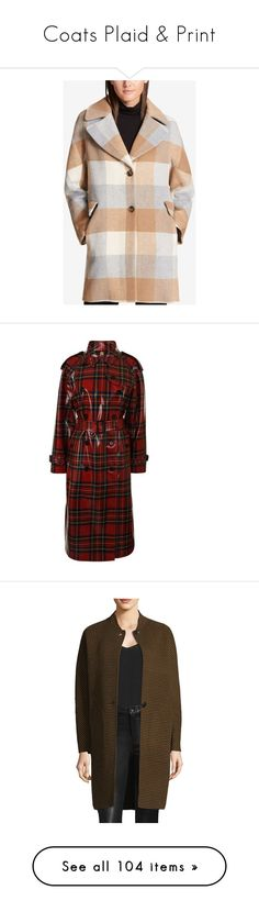 """Coats Plaid & Print"" by shamrockclover ❤ liked on Polyvore featuring outerwear, coats, camel grey plaid, tartan coats, dkny, gray coat, grey coat, wool blend coat, bright red and double-breasted wool coats"