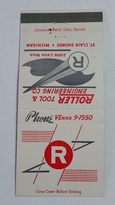 ROLLER TOOL & ENGINEERING CO. MICHIGAN THE ARISTOCRAT #MatchBook Cover To order your business' own branded #matchbooks or #matchoxes GoTo: www.GetMatches.com or CALL 800.605.7331 to Get The Process Started Today!