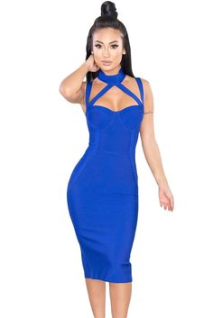 Chicloth Royal Blue High Neck Hollow-out Bandage Dress