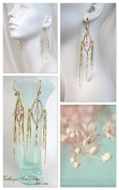 #rhinestone #earrings #jewelry   Hand-painted rhinestones with chalcedony briolettes and rose quartz...