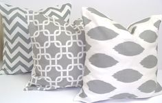 Great Etsy site for the cutest pillows! MOre Pillows.I love pillows~! Grey Pillows, Cute Pillows, Throw Pillows, White Cushions, My Living Room, Home And Living, Pillow Set, Pillow Covers, Neck Pillow