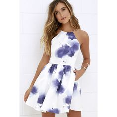 Morning in Mykonos Purple and Ivory Floral Print Dress ($64) ❤ liked on Polyvore featuring dresses, white, winter white dress, satin dress, ruched dress, white full skirt and white satin dress