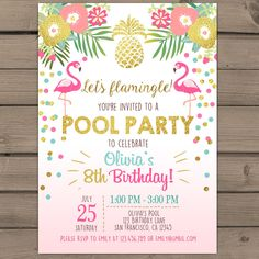 Items op Etsy die op Flamingo party invitation Tropical Birthday Invitation luau birthday party Flamingo pool party Pink mint Gold Digital PRINTABLE ANY AGE ftp lijken Flamingo Party, Flamingo Birthday, Flamingo Pool, Pink Flamingos, Aloha Party, Hawaian Party, Party Decoration, Birthday Party Invitations, Luau Party Invitations