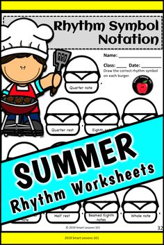 Distance Learning SUMMER Music Worksheets Rhythm Activities End of the Year Music Sub Plans, Music Lesson Plans, Music Lessons, Music Activities For Kids, Music For Kids, Music Worksheets, Summer Worksheets, Elementary Music, Elementary Education