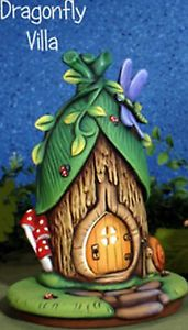 Ceramic-Bisque-Ready-to-Paint-Dragonfly-Villa-and-Base-Fairy-House-electric-incl