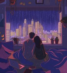 'city nights' Art Print by mienar Cute Couple Drawings, Cute Couple Art, Anime Love Couple, Art And Illustration, Cartoon Kunst, Cartoon Art, Fantasy Kunst, Fantasy Art, Aesthetic Art