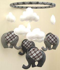 Tartan Elephant Mobile  Babys Mobile  Childrens by FlossyTots, £52.99