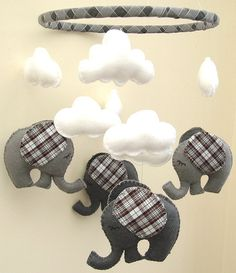 Adorable   listing at https://www.etsy.com/listing/175858392/tartan-elephant-mobile-babys-mobile