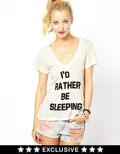 Image 1 of Wildfox I'd Rather Be Sleeping T-Shirt Exclusive To ASOS