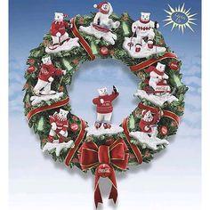 Coca Cola Polar Bear Illuminated Christmas Wreath