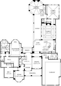 Floor plans  Courtyard house plans and House plans on Pinterest