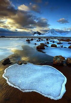Vesturhorn, Iceland. Got some great pics here. Strange and beautiful light.