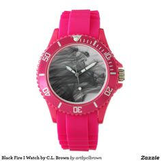 Black Fire I Sporty Pink Silicon Watch Designed by Artist C.L. Brown and available in a variety of styles on Zazzle. #watch #watches #fashion #artbyclbrown