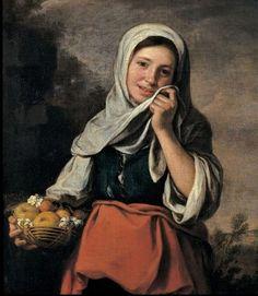 과일 파는 소녀 - 바르톨로메 에스테반 무리요  1617 - 1682.  무리요는 스페인 바로크를 대표하는 천재화가입니다. 그는 아동 장르를 창시하고 세비야 서민들의 생활을 그린 그의 연작들은 당시 큰 인기를 얻었습니다. 이 작품 또한 주인공이 아이이며 과일을 파는 모습으로 서민의 생활을 보여줍니다. 소박한 모습에 수수한 미소가 생활이 풍족하지는 않지만 행복하다는 것을 말해주는 것 같습니다.