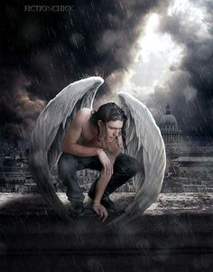 male angel wings folded down, Humanizing the Gargoyle is fascinating, particularly in a city where there are not that many. Migration or protection? Male Angels, Angels And Demons, Fantasy Kunst, Fantasy Art, Creative Photos, Cool Photos, Angel Warrior, Ange Demon, Guardian Angels