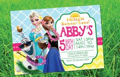 CUSTOM INVITATION Frozen Summer Luau Party by PartyByAPrincess