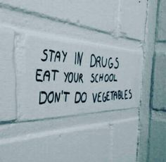 stay in school eat your vegetables don't do drugs