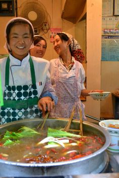 girls making spicy soup in Xining, Qinghai China