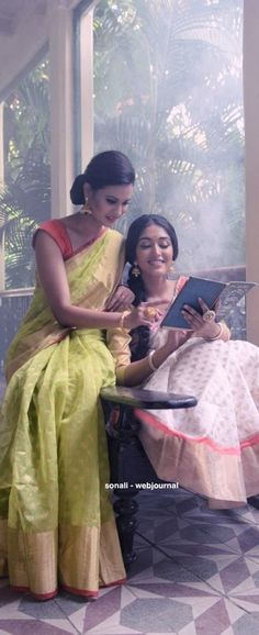 Handwoven Chanderi saree - coloroso.in The girls still absorbed in reading the Bengali Fairytale collection by Dakshinaranjan Mitra Majumdar