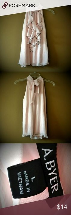 Sleeveless Blouse Light Pink Large Like New Beautiful like-new light pink halter sleeveless blouse top High neckline Size Large No defects Ties in back around neck Very pretty Amy Byer Tops Blouses